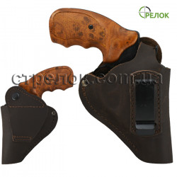 Кобура поясная винтажная для револьвера со скобой, коричневая