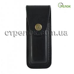 Кожаный чехол для складного ножа, черный (на кнопке)