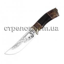 Нож охотничий Медведь, рукоять кожа/кап