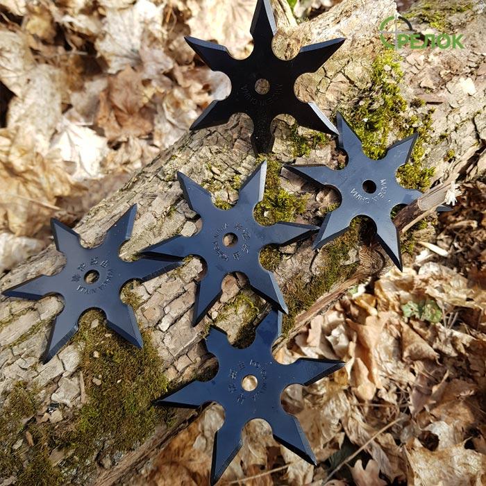 Набор шестиконечных сюрикенов, черных (5 штук)