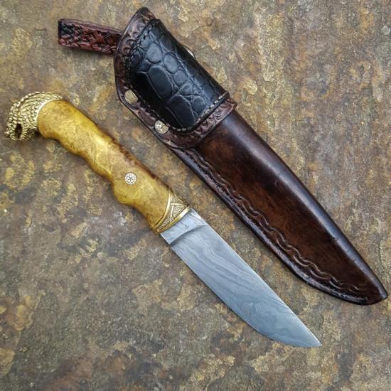 Нож ручной работы Змей, дамаск