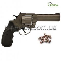"""Револьвер под патрон Флобера Stalker 4.5"""" titanium черная рукоять"""