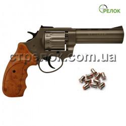 """Револьвер под патрон Флобера Stalker 4.5"""" titanium коричневая рукоять"""