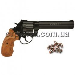 """Револьвер под патрон Флобера Stalker 6"""" black коричневая рукоять"""