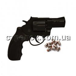 """Револьвер под патрон Флобера Stalker 2.5"""" black черный пластик"""