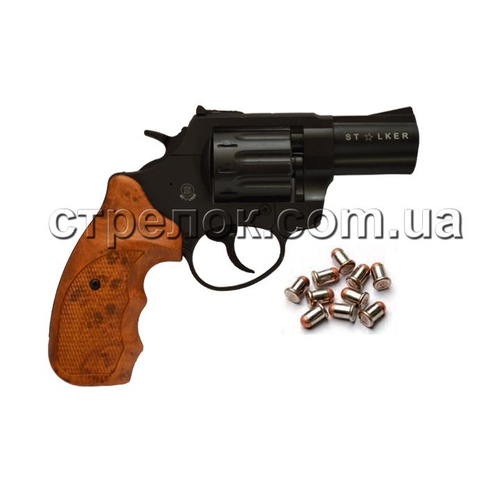 """Револьвер под патрон Флобера Stalker S 2.5"""" black коричневая рукоять"""